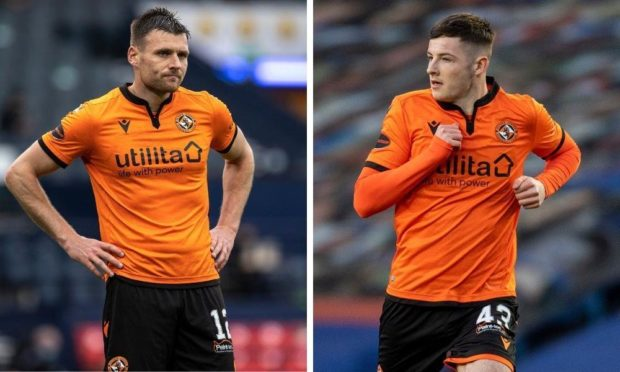 Dundee United defenders Ryan Edwards and Kerr Smith.