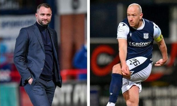 Dundee manager James McPake and captain Charlie Adam.