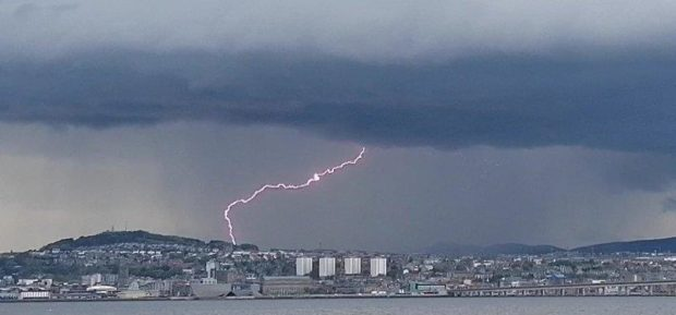Lightning spotted over Dundee on Tuesday