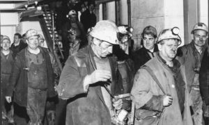 A scene from bygone days as miners leave work at the Seafield Colliery, Kirkcaldy.