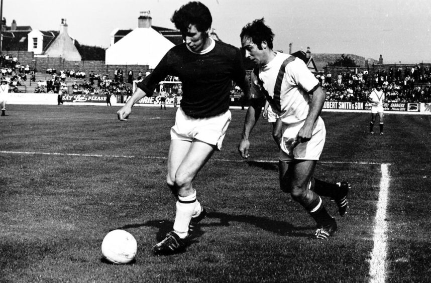 John Lambie playing football for St Johnstone against Airdrie in 1970