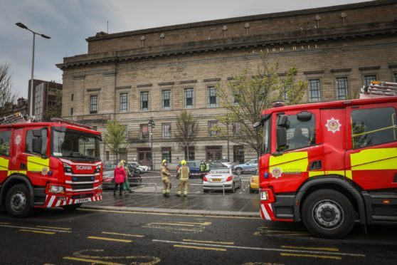 Caird Hall during a recent gas leak.