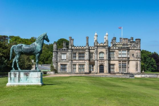 Dalmeny house, mansion and castle in Tudor revival style.