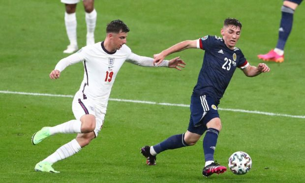 Mason Mount, left, and Billy Gilmour in action at Wembley