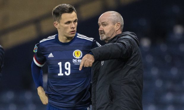 Dundee United and Scotland striker Lawrence Shankland with national team boss Steve Clarke.