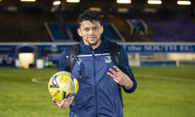 Osman Sow after scoring three at Queen of the South.