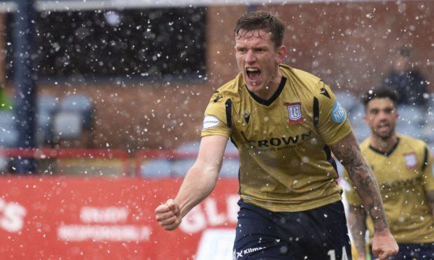 Lee Ashcroft celebrates making it 1-1 against Morton.