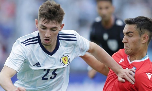Billy Gilmour drives forward against Luxembourg.