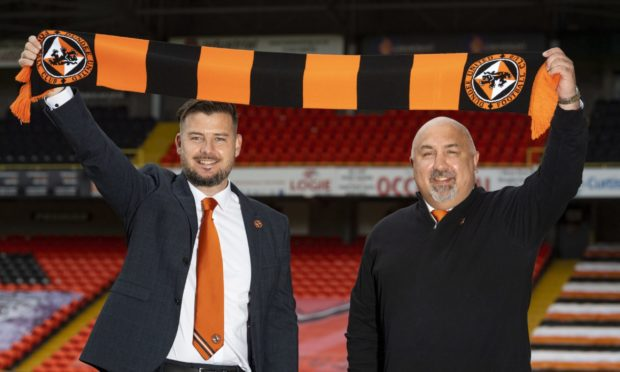 New Dundee United head coach Thomas Courts and sporting director Tony Asghar.