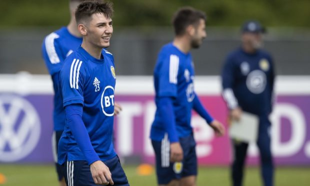 Billy Gilmour during a Scotland training session at Rockliffe Park.