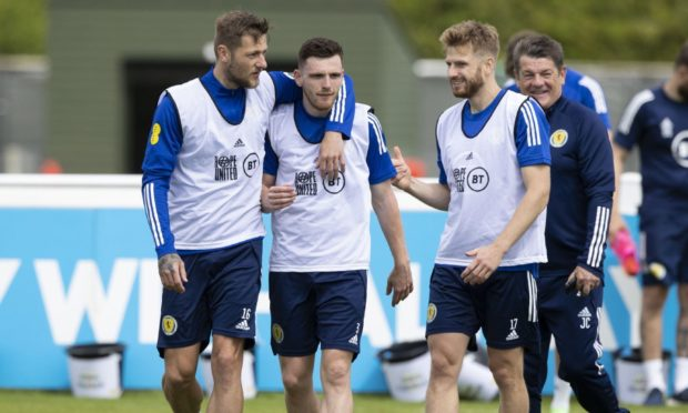 Scotland training at Rockliffe Park, Darlington -  (L-R) Liam Cooper, Andy Robertson and Stuart Armstrong.