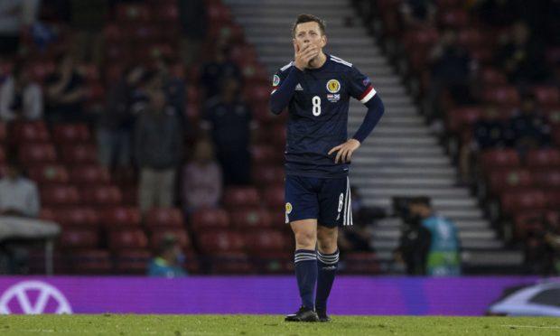 Goalscorer Callum McGregor reacts at the final whistle as Scotland lose 3-1.
