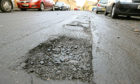 A general view of a pothole in Cupar