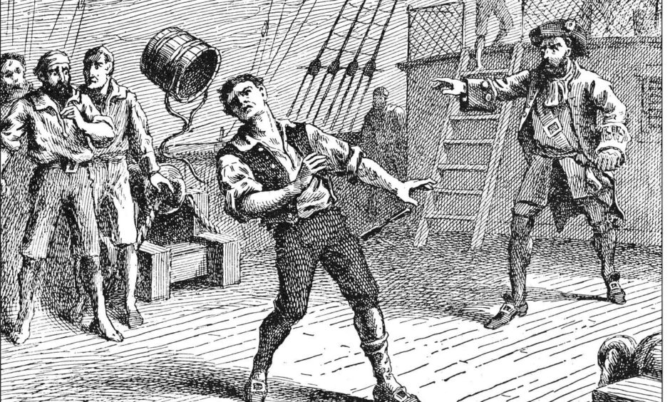 Captain William Kidd hits William Moore with an iron clad barrel in this illustration.