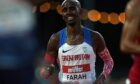Great Britain's Sir Mo Farah toils in the Olympic trial.