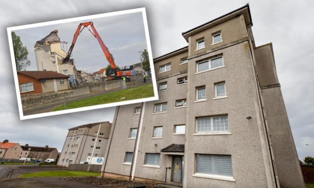 The Anstruther flats, where two of the four blocks have been demolished.