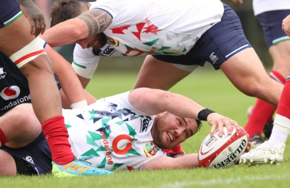 Fagerson in action during training with the Lions at their Jersey camp.