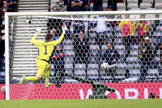 Scotland keeper David Marshall can only watch as Patrik Schick's shot flies into the back of the net.