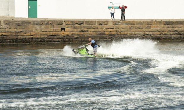 A jet-skier in Broughty Ferry harbour