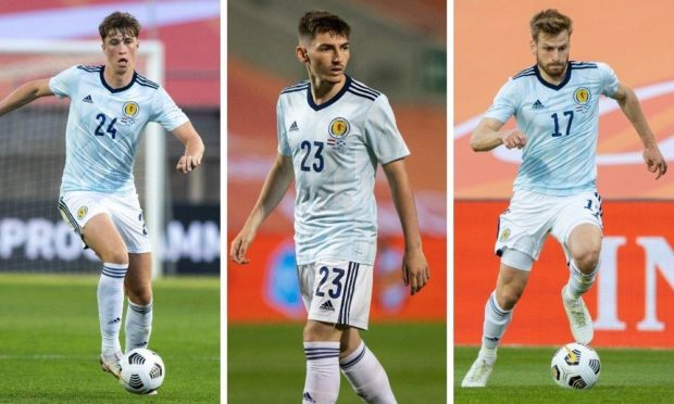 (L to R) Jack Hendry, Billy Gilmour and Stuart Armstrong all hope to start for Scotland.