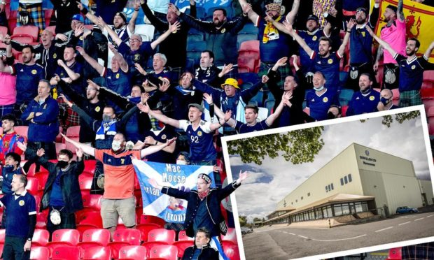 Scotland fans at Wembley with the Don and Low nonwowens factory in Forfar (inset). Roddie Reid/DCT Media.