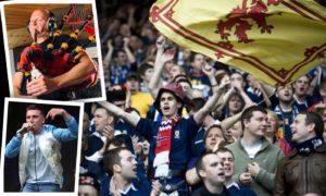 Scotland fans celebrate at a football match