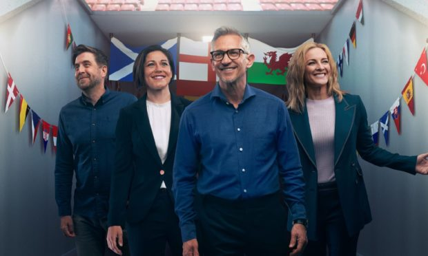 Euro 2020: Mark Chapman, Eilidh Barbour, Gary Lineker, Gabby Logan.