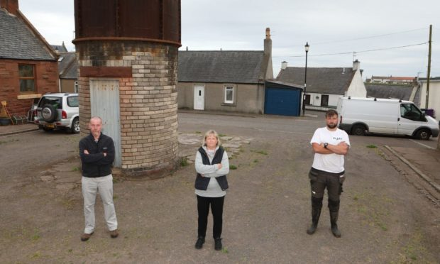 Fed up Auchmithie residents. From left: Kerr MacWhirter, Tracy Cuthill and Daniel Rosie.