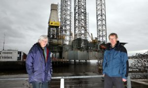 Friends of the Earth Tayside Mary Henderson and Andy Llanwarne.