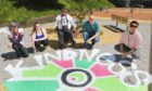 """the """" Bottom of the Hill Tennants Group"""" launched their """" Positive Vibes Project"""" at Tulloch Court Multi today, organisers are Gary Germaine, Chloe Gaskin, Gill Webster, Daniel Burns & artist Pamie Bennett"""
