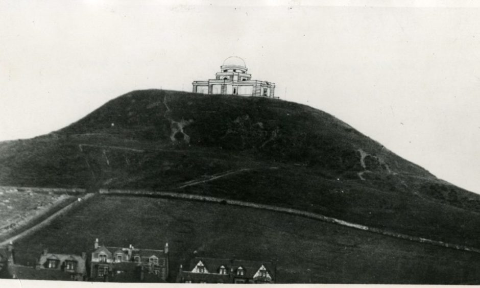 An artists impression of plans for Mills Observatory at the summit of the Law.