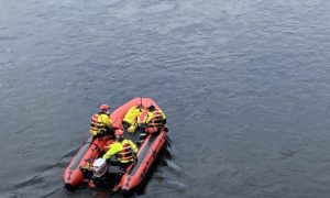 Fire crews involved in the emergency response at the River Tay on Monday