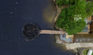 Drone footage of the burnt down Crannog centre