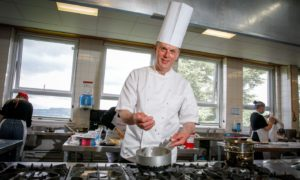 Ian Gibb in one of the training kitchens at Perth College.