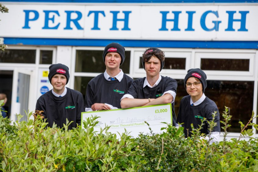 Perth High School pupils Paddy Trotter, Matthew Sandler, Adam Fairlie and Alex Cook secured £3000 for the Lighthouse for Perth charity.