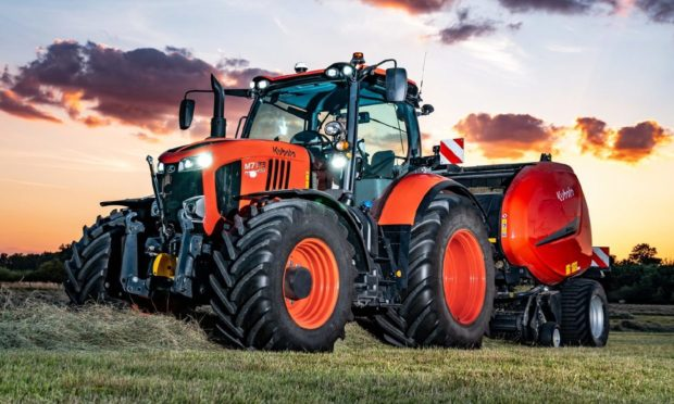 Kubota UK won a silver technical innovation award for their M7003 Premium KVT tractor and BV Series TIM round baler.