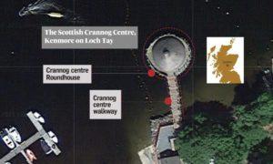 An aerial view of the Crannog Centre