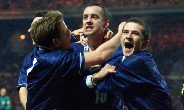 Don Hutchison celebrates his winning goal as Scotland beat England in 1999