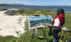 Penelope Anstice painting a recent commission at Smirisary, Glenuig