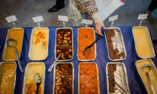 Some of the school meals that could be on offer include (from left to right) lentil soup, macaroni cheese, chicken in gravy, meatballs in Moroccan sauce, fruit gingerbread and custard.