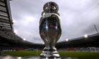 The European Championship trophy at Hampden Park.