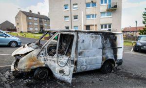Kirkcaldy van after fire on Monday
