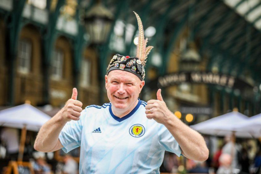 Tartan Army member John Nicol in Covent Garden ahead of the Scotland v England match.