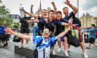 Scotland fans arrive at London's King's Cross ahead of England v Scotland.