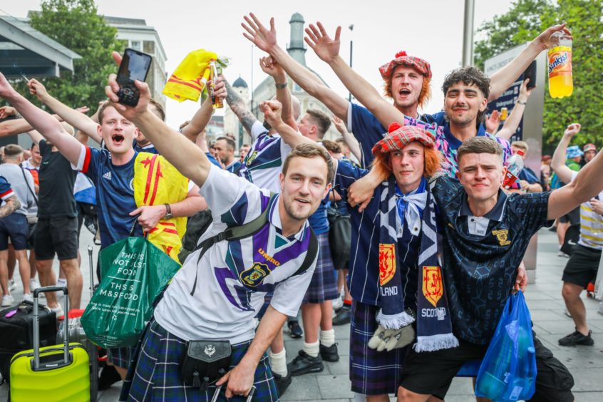Scotland fans at Kings Cross on Thursday.