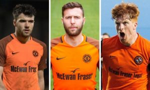 Former Dundee United stars Scott Fraser (left) and Simon Murray (right) are assisting former team-mate and new Downfield boss Lewis Toshney.