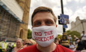 Anti-lockdown protests in London this week.