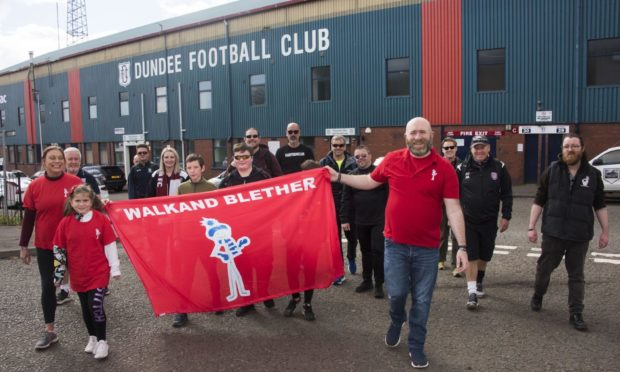 The Walk and Blether group set off from Dundee's home ground - Dens Park.