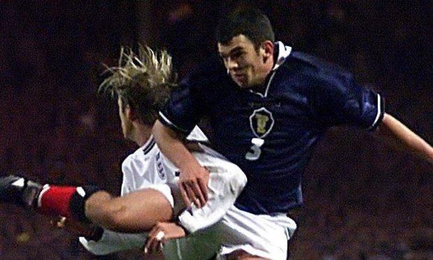 Callum Davidson in action against David Beckham at Wembley.