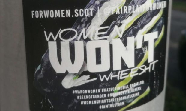 Police appealed for information after the Women Won't Weesht stickers appeared on lampposts in Kirkcaldy/